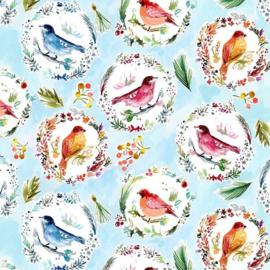 LOVE AT FROST SIGHT 1836 quiltstof met vogel in vrolijke winter sfeer