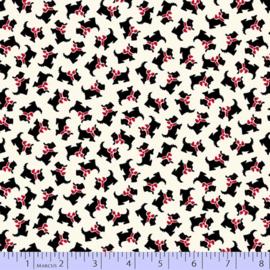 Aunt Grace's Apron by Jydie Rothermel R350761 0146 quiltstof met zwarte teckel met rood strikje