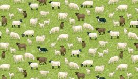 Quiltstof met witte en bruine  schapen 2291