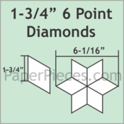 Paper pieces  1 3/4 inch point diamonds zes puntige ster