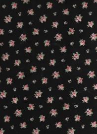 zwarte stof met rode bloemetjes
