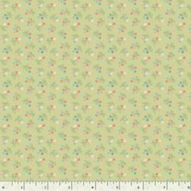 Quiltstof groen met bloemetjes R210871 - 0156 GREEN