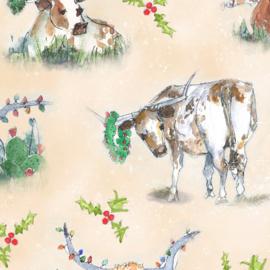 Quilt kerststof met koeien - longhorns  28361 A