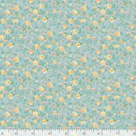 Quiltstof lichtblauw met bloemetjes R210875 - 0122 LIGHT BLUE