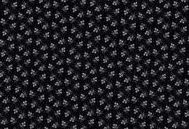 zwart-witte folklore bloemetjesstof