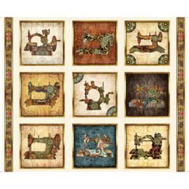 Panel stof met antieke naaimachines