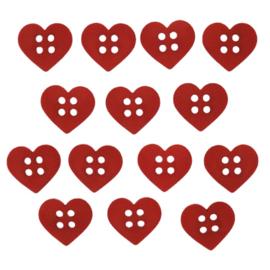 knopen hart rood