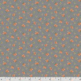 Quiltstof grijs met oranje bloemetjes R210874 - 0128 GRAY