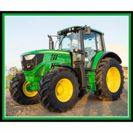 Panel quiltstof met John Deere tractor