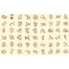 Moda  Redwork Gatherings 49110 11 panel met stitchery