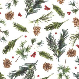 Quilt kerststof met kerstgroen en denneappels en rode besjes 28362 Z