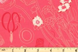 quiltstof met afbeelding van schar - klos garen - bloemen roze DC7824 - CORA - D