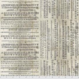 Quilstof met alfabet in diverse lettertypes zwart wit PWTH 175 PATCHMENT