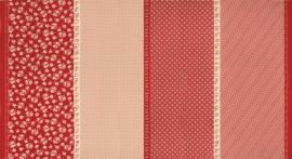 Stof panel met 4 verschillende prints. alfabet, cijfers, inches - rood