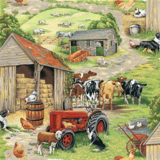 Quiltstof in the country 101 met tractor / trekker - koeien - kippen