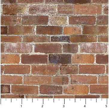 quiltstof met bakstenen van gemetselde muur