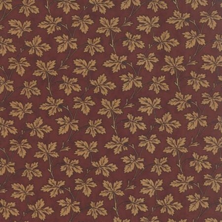 quiltstof Floral Fall Leaves Burgundy