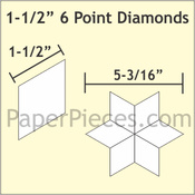 Paper pieces  1 1/2 inch point diamonds - zes puntige ster
