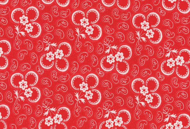 Westfalenstof klavertje drie rood - wit 010509012