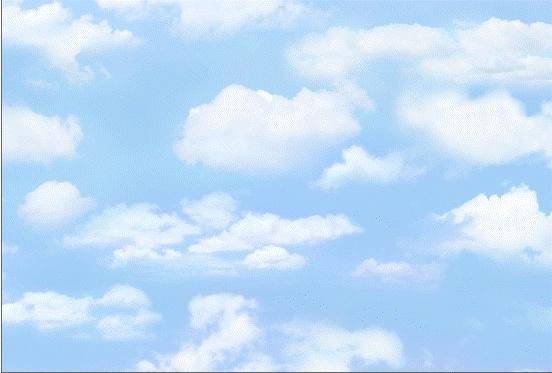 Quiltstof met afbeelding van wolken 369 licht blauw