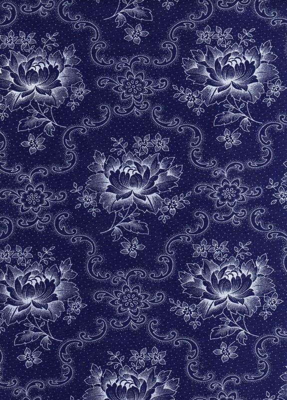 Hollandse quiltstof pioenroos blauw-wit (art. nr. 010508010)
