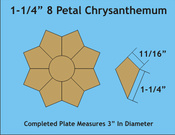 Paper pieces 1 - 1/4 inch Petal chrysanthemum Plate