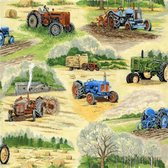 Quiltstof in the country 102 met oude tractoren / trekkers