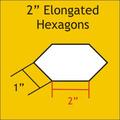 """verlengde hexagon mallen 2 """" inch"""