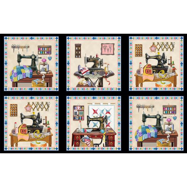 Panel stof met verschillende vintage zwarte naaimachines 3326 black