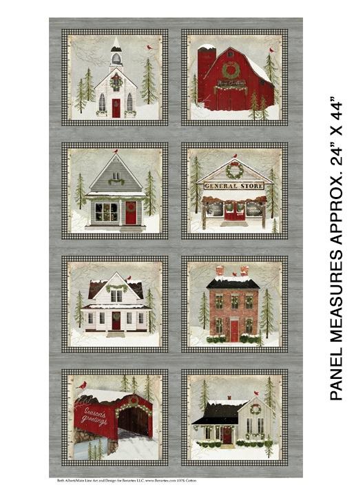 Quiltstof Snow Village Panel