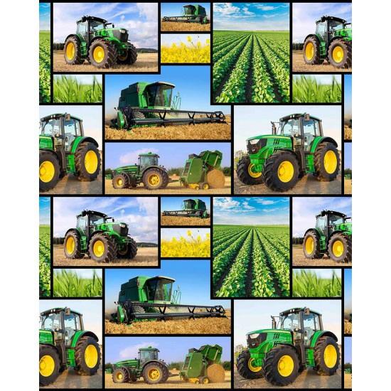 Quiltstof Farm machines met tractor 78650 103