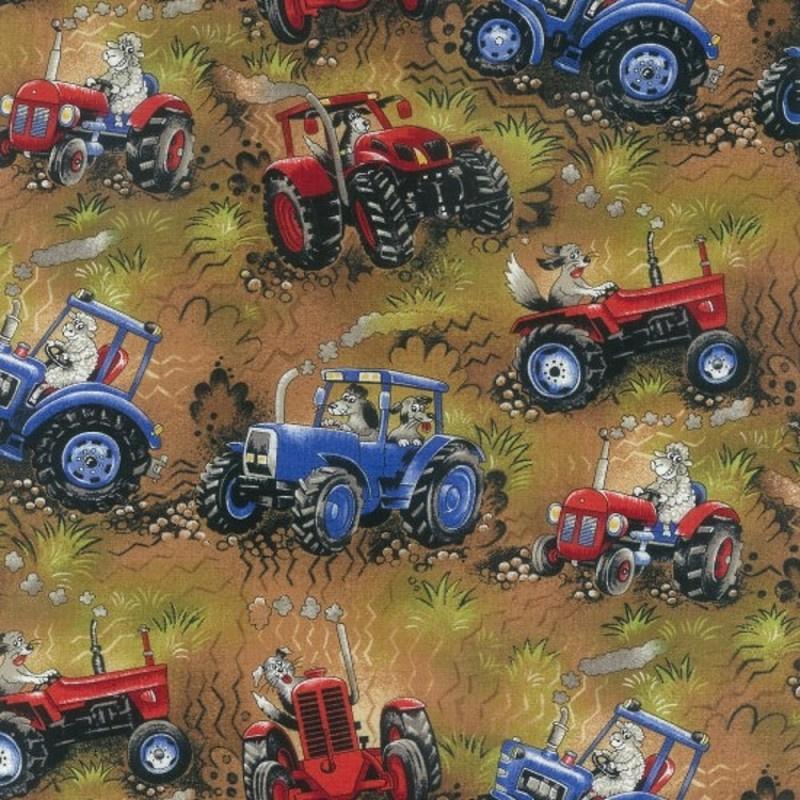 Quiltstof field days brown 102 stof met tractoren / trekkers