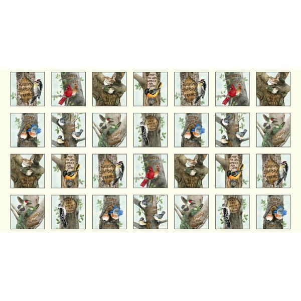 Panel stof met verschillende vogels ecru 4331