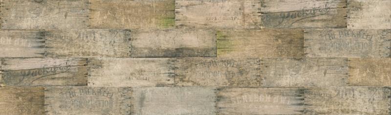 Flea Market Moxie stof met print van houten planken grijsbrui 7365 12D