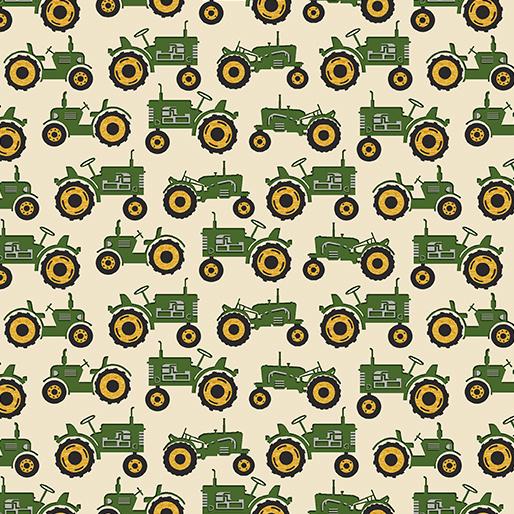 Quiltstof tractor stof met groene tractor 1019440