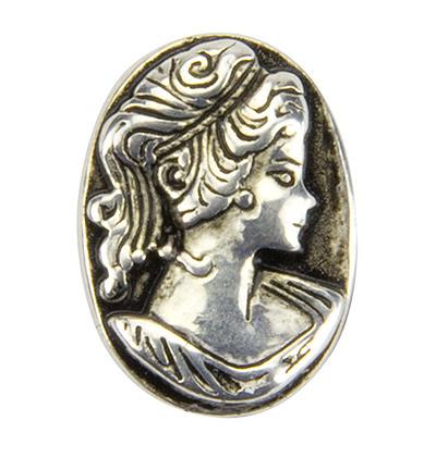 Bedel ovaal antiek zilverkleurig