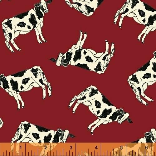 Windham holy cow rood stof met koeien