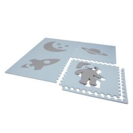 """Speelmat """"Ruimte"""" (Baby)blauw-Grijs of Grijs-Babyblauw / 4 tegels (60 x 60 x 1,2 cm)"""