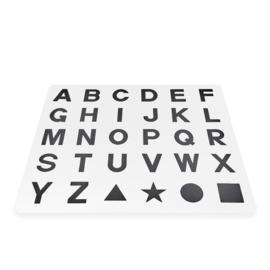 Speelmat alfabet/figuren Wit-Zwart 2,86 m² / 30 tegels (30 x 30 x 1,2 cm)