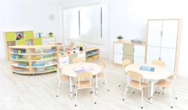 Kinderopvang tafels  met verstelbare poten (in 4 vormen en 7 kleuren poten/randen)