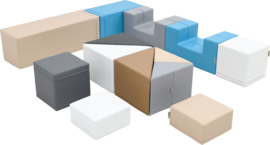 Foam Blokken Set van 13 zachte speelelementen (zwart, wit, beige, bruin, lichtblauw, lichtgrijs)
