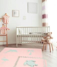 """Speelmat """"Tropical"""" (Zalm)roze-Ei blauw of Ei blauw-(Zalm)roze / 4 tegels (60 x 60 x 1,2 cm)"""