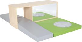 Speelhoek met lage kast (met spiegel) en speelmatten (Natuur of Wit)