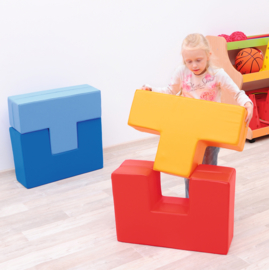 """Foam Blokken Set van 2 zachte speelelementen """"Lichtblauw/Donkerblauw"""" of """"Rood/Oranje"""""""