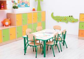 Kinderopvang tafels (in 4 vormen en 7 kleuren poten/randen) / groepstafels