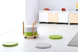 10 ronde zitkussens (multikleuren, groen of grijs)