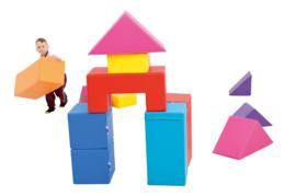 Foam Blokken Set van 13 zachte speelelementen (rood, geel, blauw, oranje, paars)