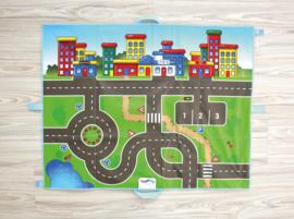 Speelkleed/speeltapijt verkeer (opvouwbaar) met 2 auto's