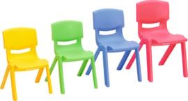 Kinderopvang stoelen kunststof (in 4 maten en 5 kleuren)