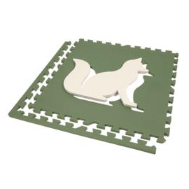Speelmat Dieren Groen-Crème of Crème-Groen / 4 tegels (60 x 60 x 1,2 cm)